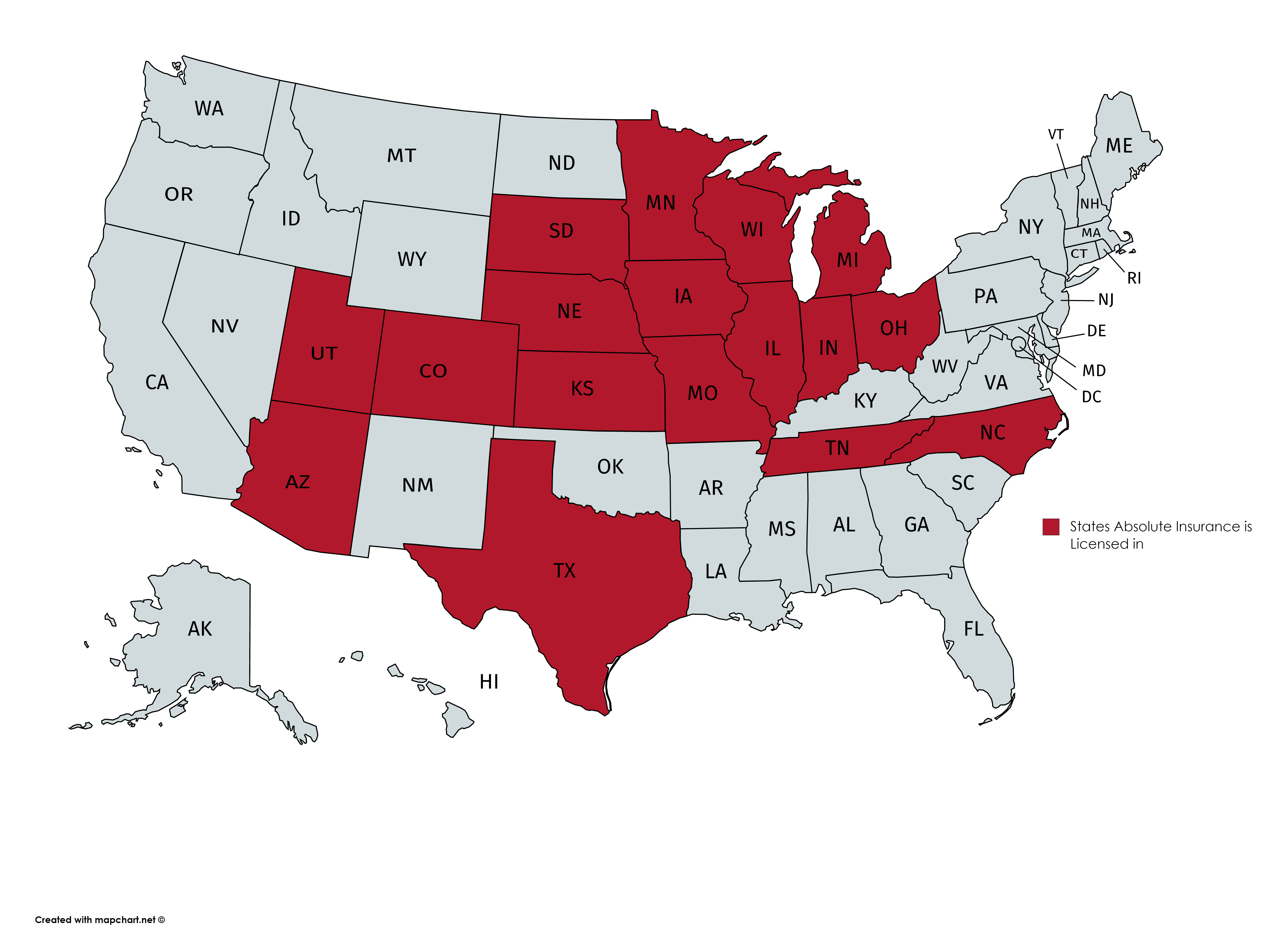 Map showing 17 states Absolute Insurance is licensed in