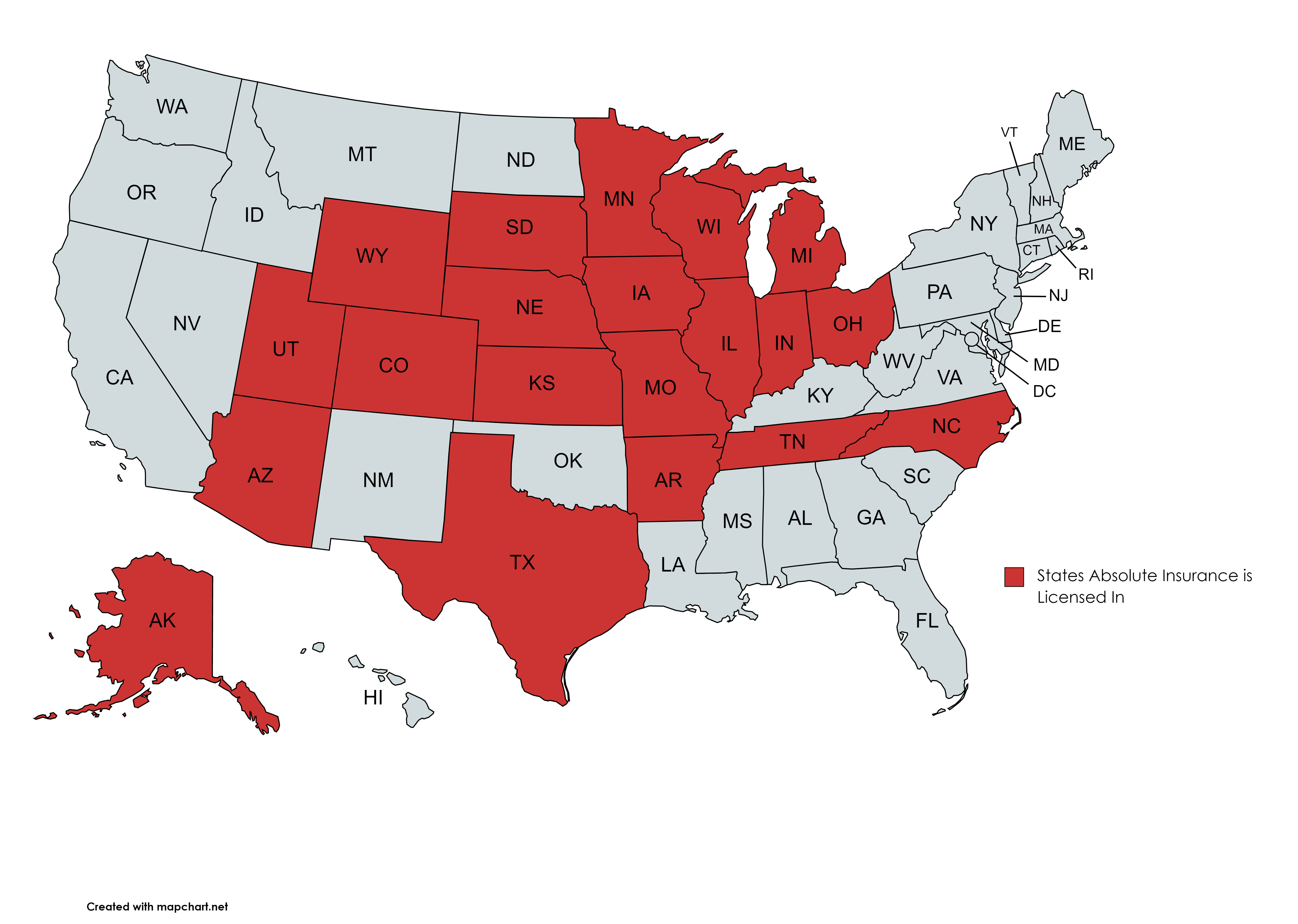 Map showing 18 states Absolute Insurance is licensed in